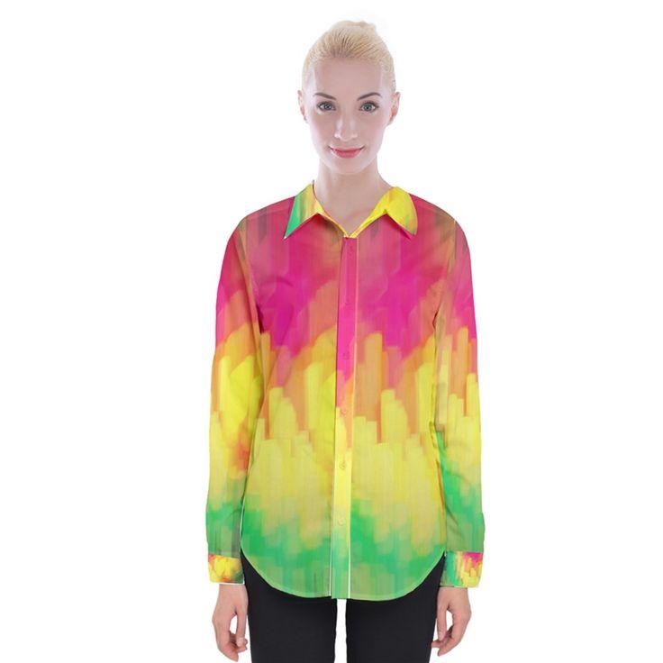 Pastel shapes painting Women Long Sleeve Shirt Womens Long Sleeve Shirt