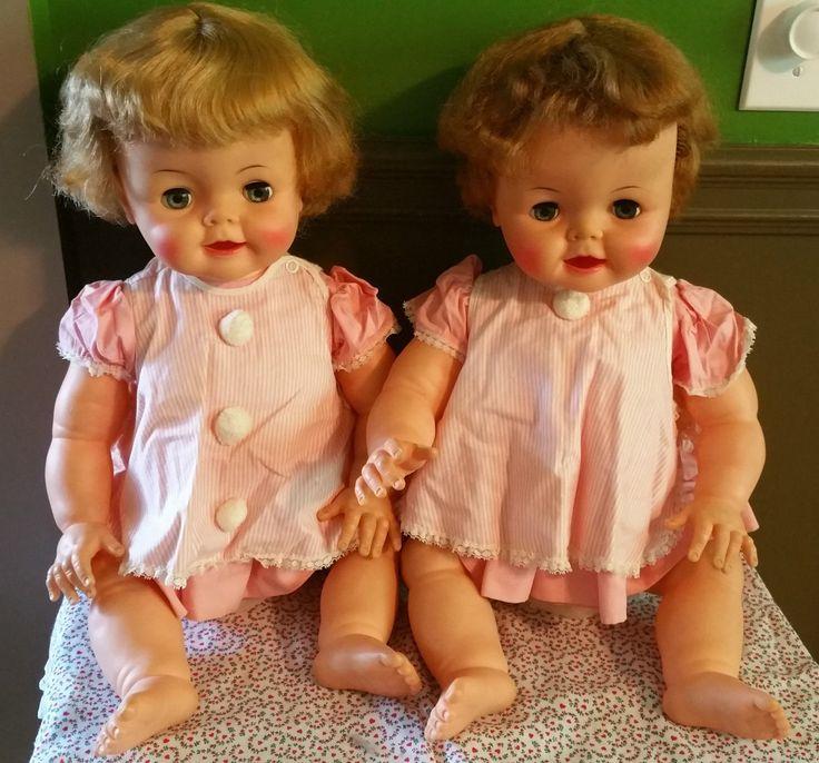 "2 Vintage 1962 Ideal 23"" ""Bibsy"" Big Baby Dolls D 20"