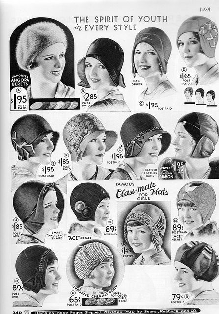Hats for the youth of 1930    1930's hats for young ones from the American Sears catalogue.