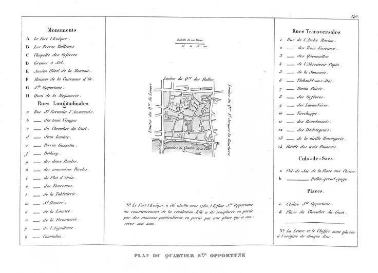 Plan du quartier Sainte-Opportune - plan de Paris en 1839 - Dressé par Charle & gravé par P. Rousset pour J. de Marlès à Bruxelles