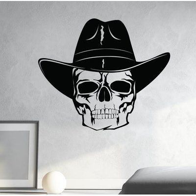"Style and Apply Skull with Cowboy Hat Wall Decal Color: Pastel Orange, Size: 34"" H x 39"" W"