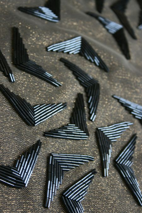 Beaded surface pattern with scattered shape repetition; elegant textiles design // Abigail Gardiner