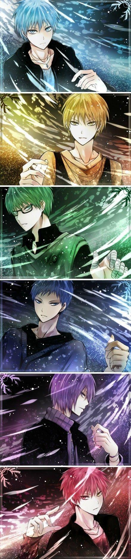 Ooohhhh very pretty art of all the boys, me likes very much | Kuroko, Kise, Midorima, Aomine, Akashi | KnS | KnB