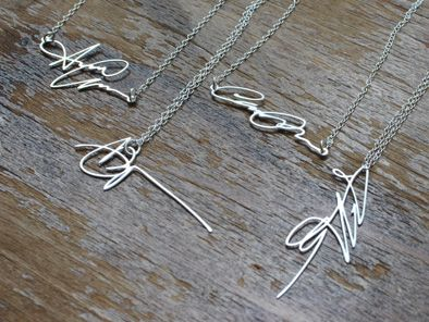 Signature necklace. Your own, or wear your loved one's signature, such a
