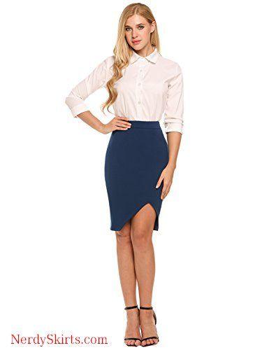 c63661111 Zeagoo Women's High Waist Stretch Bodycon Pencil Skirt for Office Wear Plus  Size Casual Skirt
