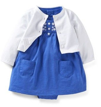 2-Piece Bodysuit Dress Set from Carter's.   A flutter-sleeve dress with built-in bodysuit looks so cute with a coordinating cardigan. Embroidery and bright colors are a fresh look.   Get your rebate from RebateGiant.