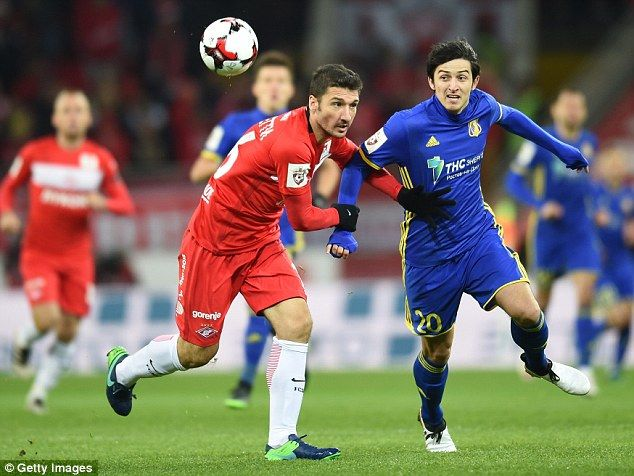Sardar Azmoun (right) in action for FC Rostov against Spartak Moscow last month