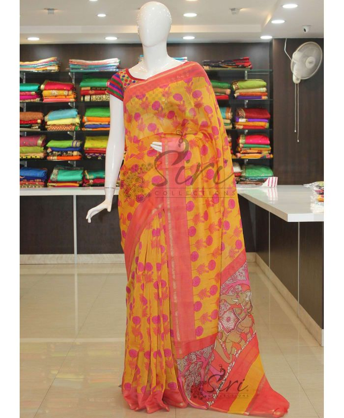 Yellow Floral Design Printed Chanderi Cotton Silk Saree With Blouse