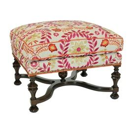 William And Mary Ottoman  Transitional, Upholstery  Fabric, Ottomans  Pouf by…