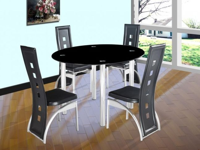 Phoenix Black Round Glass Dining Set With 4 Hilton Holes Chairs