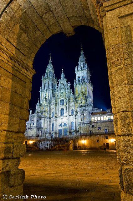 Catedral nocturna, Santiago de Compostela, Galicia.