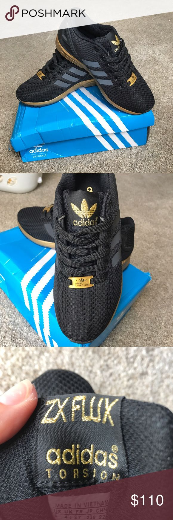 ADIDAS ZX FLUX BLACK AND GOLD NEW IN BOX! RARE BLACK AND GOLD! Size 6- Only selling because I'm a 6.5 and they're too tight! adidas Shoes Athletic Shoes
