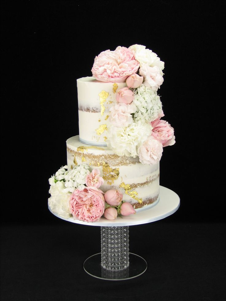 Naked Chocolate Wedding Cake Purple Flowers