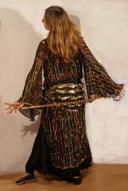 Saidi jurk met gekleurde strepen en rijen gekleurde pailletjes XL XXL