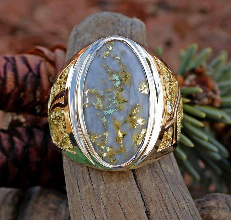 Gold Bearing Quartz And Alaskan Gold Nugget Custom Ring
