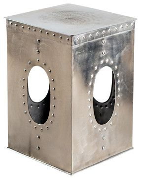 Square Rivet Stool - Mirror Nickel - industrial - Ottomans And Cubes - C.G. Sparks