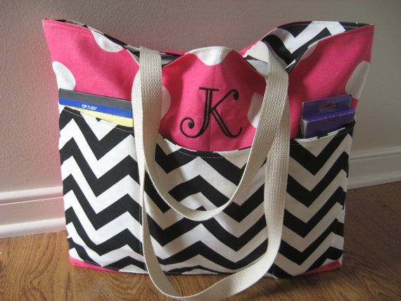 Teacher Tote Bag Deluxe Monogrammed, REVERSIBLE, Black Chevron Pink Dots on Etsy, $72.99