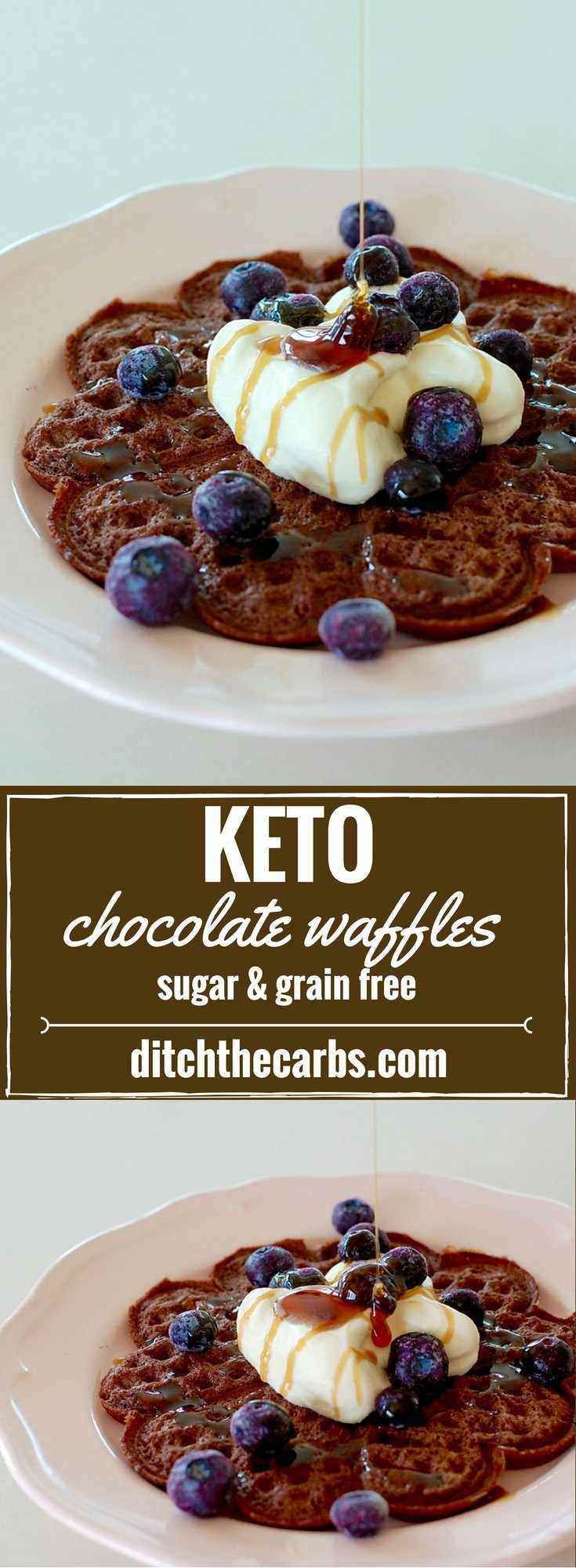 THE best keto chocolate waffles recipe out on the internet!!! Only 3.4g net carbs. It's so easy to prepare and they can be frozen too! Brilliant. | ditchthecarbs.com via @ditchthecarbs