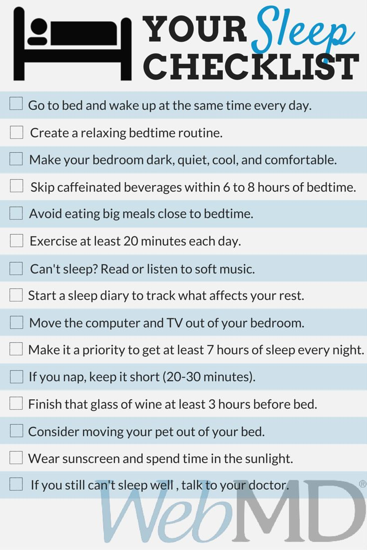 Checklist For Getting A Good Nights Sleep Use This For A Start If It Is