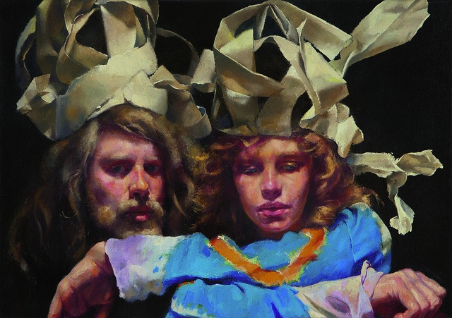 The Painter with Mary in Newspaper Magi-Fool's Hats. 1981 - Robert Lenkiewicz