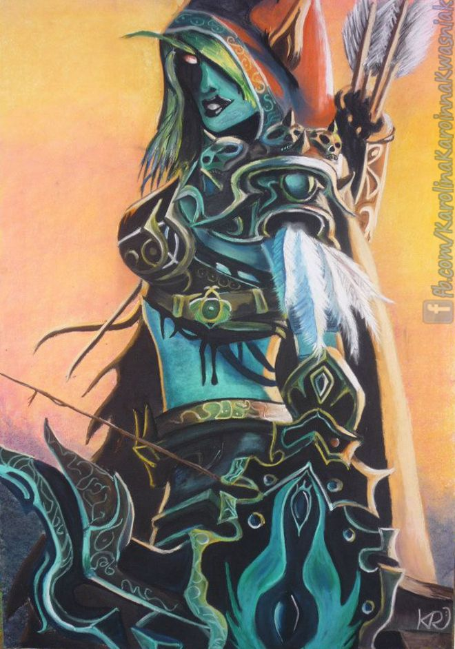 Lady Sylvanas (based on: http://images4.fanpop.com/image/photos/24200000/Lady-Sylvanas-Windrunner-random-role-playing-24261777-372-678.jpg). Drawn in 2011 or 2012 (don't remember xD) on B1 paper, with pastels ;)
