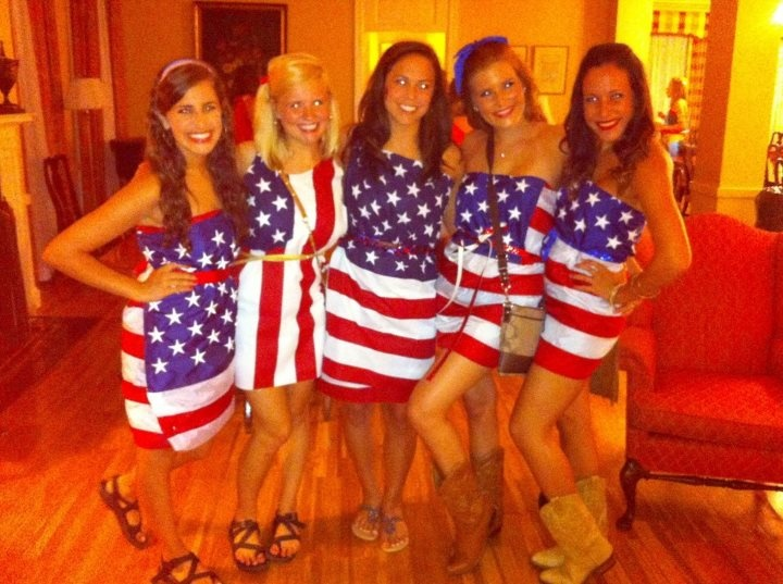 """Anything But Clothes theme.  Alpha Gams wearing American flags."" ....um, I'm not super patriotic, but didn't these girls ever learn about the U.S. Flag Code?"