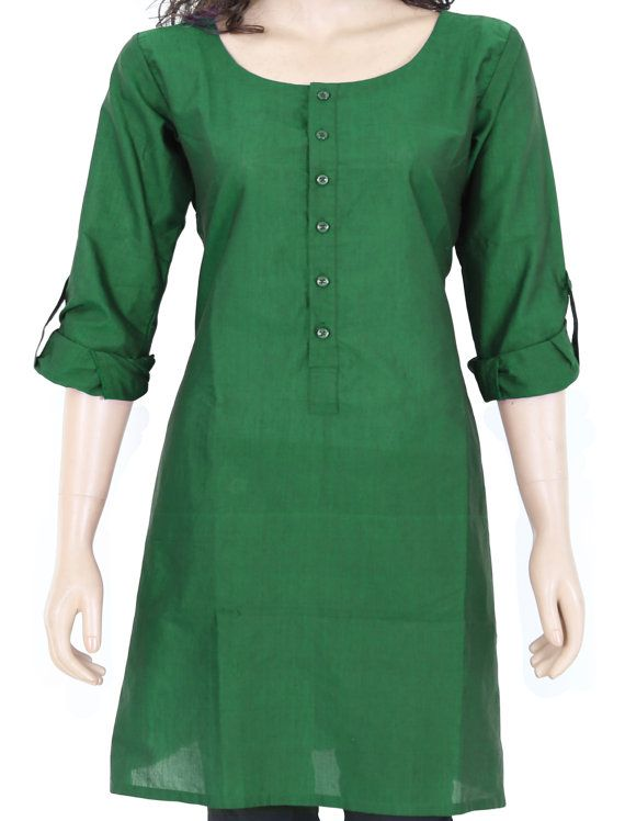 Indian Ethnic Green Plain Cotton Short Top / Tunic / by theaonline