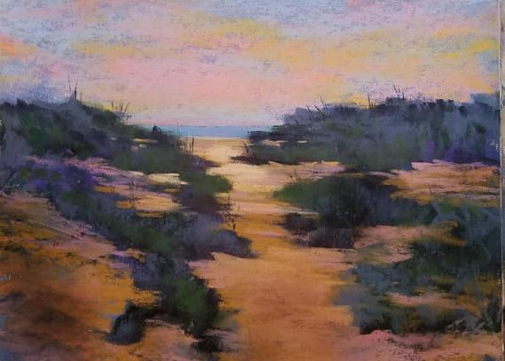 Sundown Time Original Pastel Painting Artwork Beach Scene