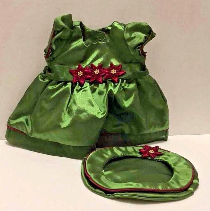 American Girl Doll Holiday Christmas Bitty Baby Green Dress Beret Hat Poinsettia #AmericanGirl