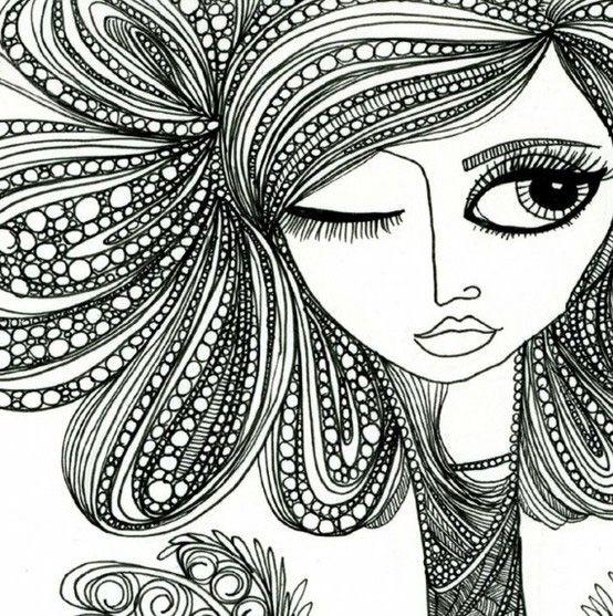 Doodle Art Designs : Zentangle girl doodle pinterest girls