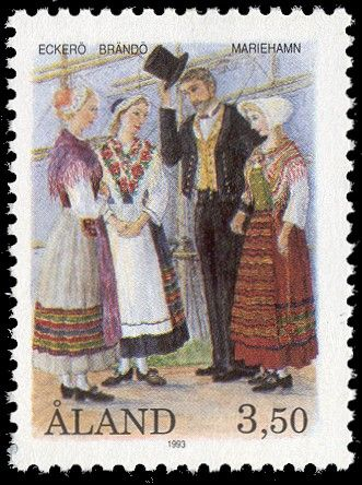 Finnish stamp 1993 - National costumes from Åland; Eckerö, Brändö and Mariehamn by Allan Palmer