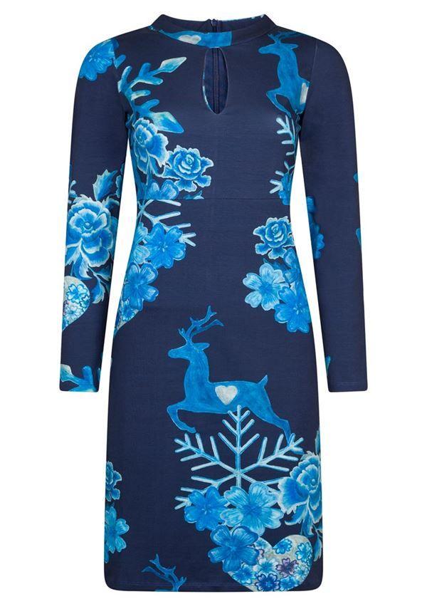 e8e10d74 Køb mørkeblå kjole med print fra Lien & Giel. Fri fragt | Kjoler ...