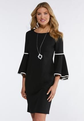 Plus Size Contrast Bell Sleeve Shift Dress Plus Sizes Cato Fashions ...