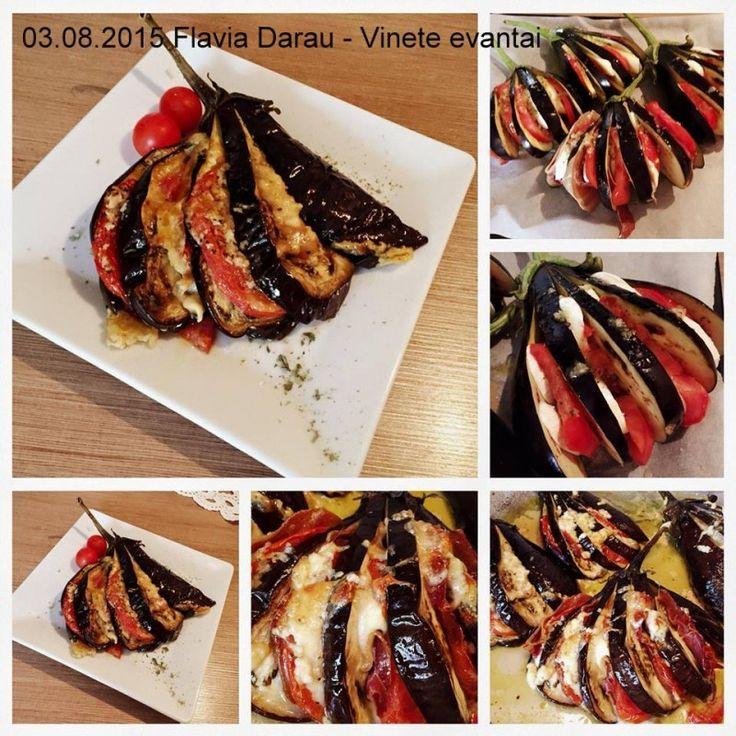 Vinete evantai - acordeon la cuptor – vinete impanate cu rosii si mozzarella (sau cascaval) si felii cu subtiri de sunca. Aceste vinete umplute acordeon sau
