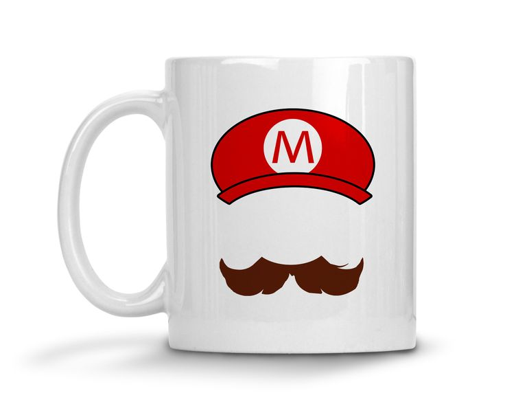 Mario Mustache and Hat Ceramic Coffee Mug  #funny #sassy #sayings #womens #quotes #tops #tees #clothes