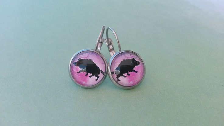 Wild Boar silhouette on pink watercolour, leverback earrings, hog, huntress, hunter, pig, razorback, stainless steel, nature, wilderness by NixieNooDesigns on Etsy