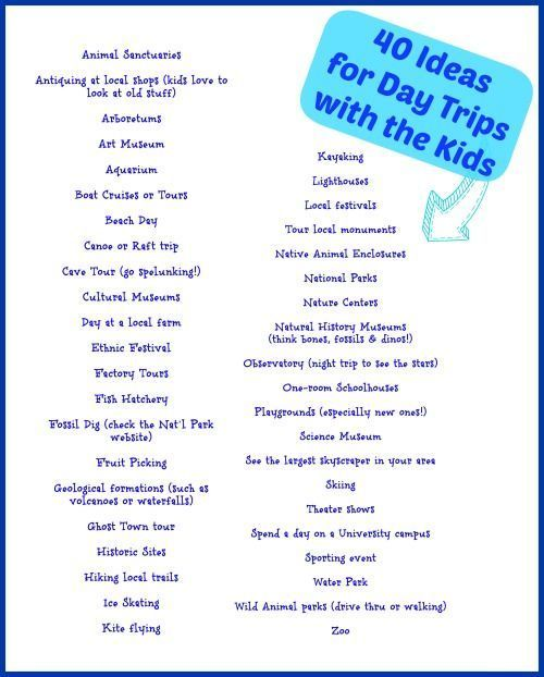 40 Ideas for Day Trips with Kids {free printable} -- fun places to take the kids this summer!
