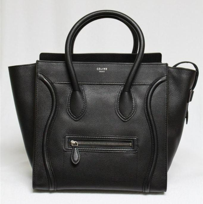 Celine Black Pebbled Leather Mini Luggage Tote Bag | STYLE ...
