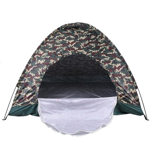 Outdoor Portable Camouflage Beach Tent Camping Tent For 4 Person Single Layer Polyester Fabric Tents Carry Bag Travel Review Tent Beach Tent Waterproof Tent