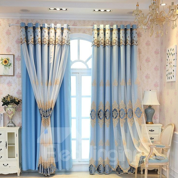 Elegant And Luxury Embroidered Blackout Custom Curtain Sets For Living Room Bedroom Teal Curtains Curtains Luxury Bedroom Design