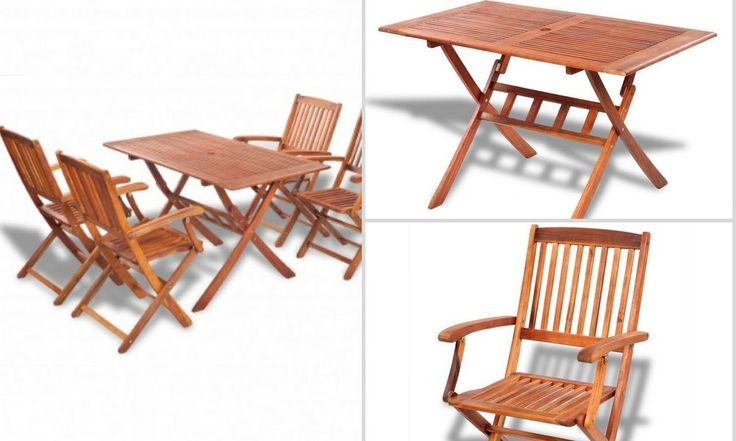 Wooden Garden Table and Chairs Folding Patio Deck Dining Furniture Set Camping