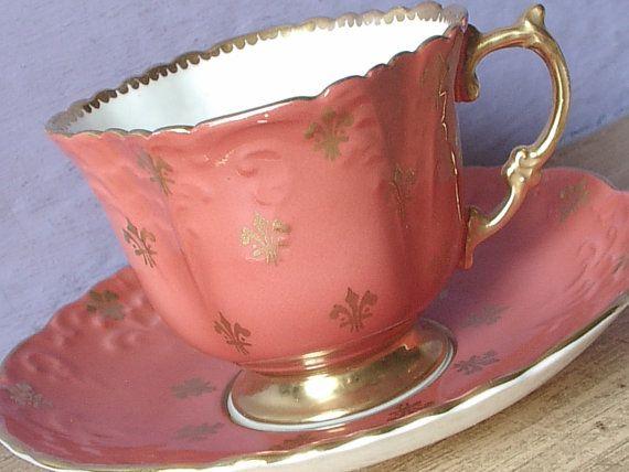 Antique Aynsley orange tea cup and saucer bone by ShoponSherman