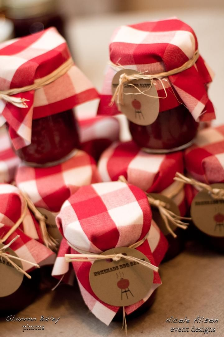 BBQ sauce party favors- cute idea! Could also give out the cocktail recipe cards.