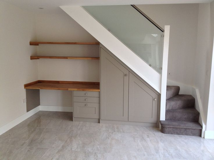 Under the stairs study/desk space. A great use of space for a small home study/office. Bespoke Design by Anthony Mullan furniture. Find out more at www.anthonymullan.com