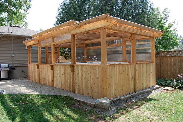 traditional enclosed cedar pergola ideas image