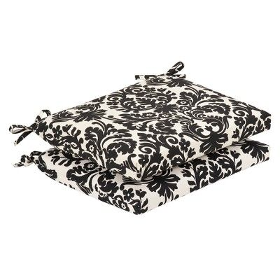 Pillow Perfect Essence Black Beige Damask Seat Pad For Universal 35362