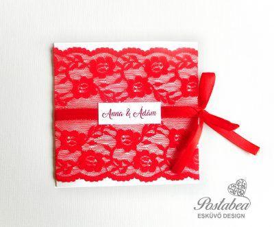 piros csipkés esküvői meghívó masnival