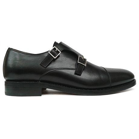 Zapato monkstrap doble hebilla negro Berwick 1707 vista lateral