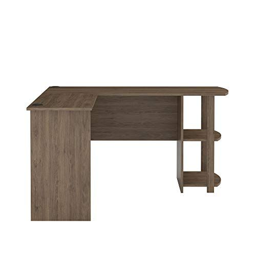 Ameriwood Home Dakota L Shaped Desk With Bookshelves Rustic Oak Bookshelf Desk L Shaped Desk Black Home Office Furniture