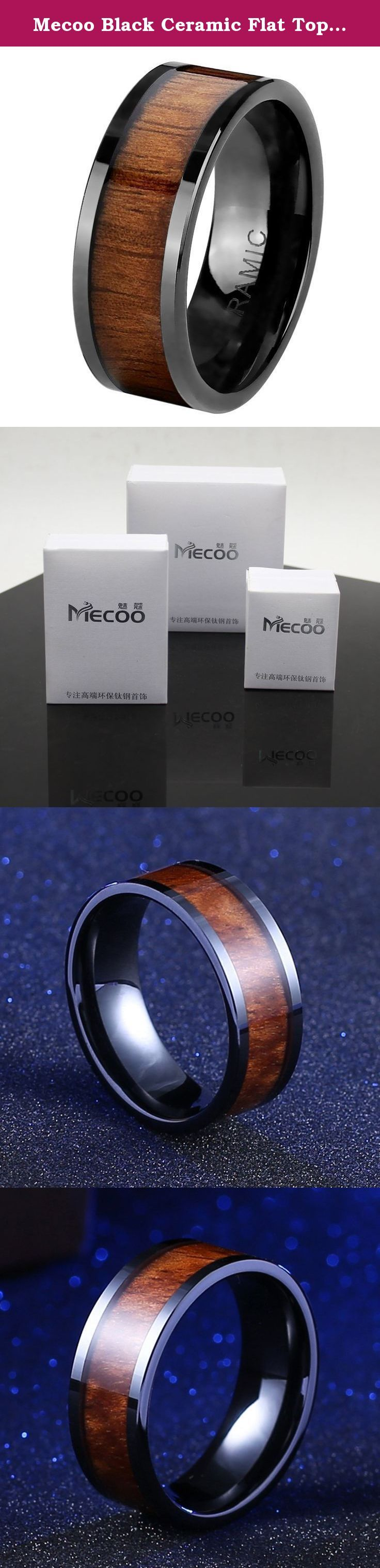 Mecoo Black Ceramic Flat Top Wedding Band Ring with Real Koa Wood Inlay Rings for Men 9mm Comfort Fit (9). This sleek flat top wedding ring by Bonndorf is made with lightweight ceramic and is fashioned into a 9-mm band with a polished finish. The center is inlaid with real wood. Ceramic rings are lighter in weight compared to titanium and are just as scratch-resistant as tungsten carbide.